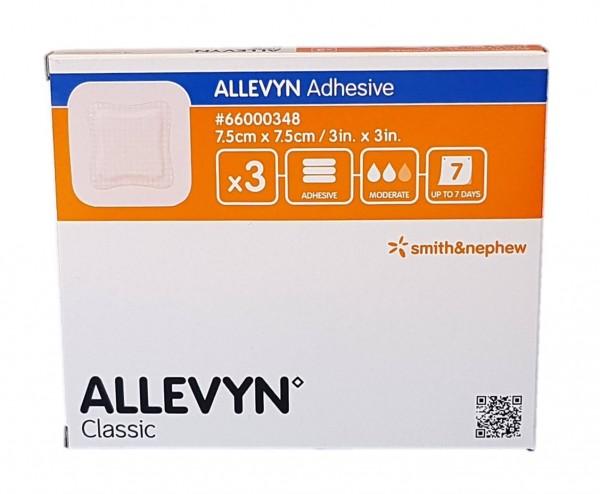 ALLEVYN Adhesive 7,5x7,5 cm haftende Wundauflage 3 St.